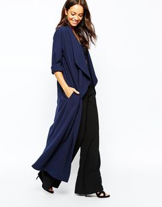 Image 4 of Never Fully Dressed Waterfall Crepe Maxi Duster Coat