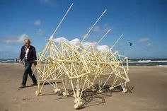"""Theo Jansen's giant  """"strandbeests."""" (Self-moving sculpture beasts.)"""