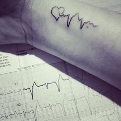 'Love the life you live, live the life you love' To celebrate life and to remember the change in my life and because I am grateful for my family I made my own tattoo.. my own unique heartbeat of my ECG ♡ This Saturday it's been a year since my last operation, no problems so far!! #heartbeat #tattoo #ecg