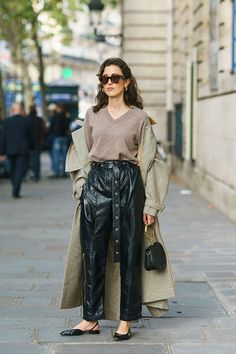 Trench coat outfits ideas french street style sweater leather pants slingback flats