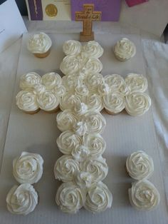 First communion cupcake cake. I'm so making these for my First Communion Children.