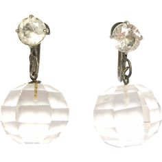 Sterling Art Deco Japanese Quartz Crystal Drop Earrings