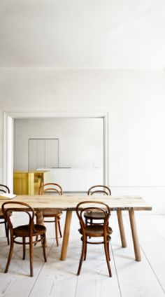 = metallic gold island bench, bentwood chairs and white dining