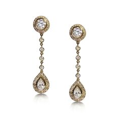 Bespoke brilliant-cut and pear-shaped diamond drop earrings, with detachable tops. Mounted in 18ct yellow gold.
