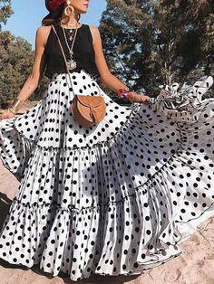 New Sexy Sleeveless Polka Dot Dress Set – dresshelike Womens Maxi Skirts, Printed Maxi Skirts, Pleated Skirts, Long Skirts, Cheap Skirts, Ruffle Skirt, Mode Outfits, Fashion Outfits, Womens Fashion