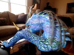 Dragon Statue Paper Mache Recycled Art by MountainHighland on Etsy, $150.00