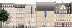 ein 1. Preis Nach Überarbeitung - Museumbau: Ansicht Hirschgraben M 1:200, © Prof. Christoph Mäckler Architekten