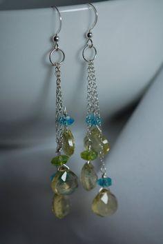 peridot briolette & czech glass earrings. sterling by adgiggles $15.00