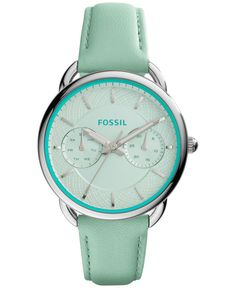 Fossil Women's Chronograph Tailor Green Leather Strap Watch 35mm es3951