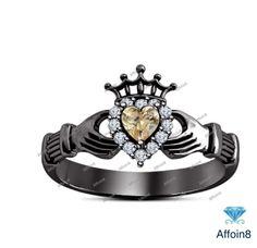 14K Black Gold Plated 925 Silver 1.30 CT Heart Shape Morganite Claddagh Ring 5 6 #Affoin8 #CladdaghWeddingRing