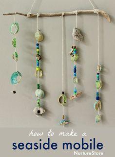 How to make a shell mobile :: seaside craft - NurtureStore Art Activities, Summer Activities, Thanksgiving Activities, Indoor Activities, Family Activities, Toddler Activities, Seashell Mobile, Art For Kids, Crafts For Kids