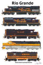 "Rio Grande Locomotives 11""x17"" Railroad Poster Andy Fletcher signed"