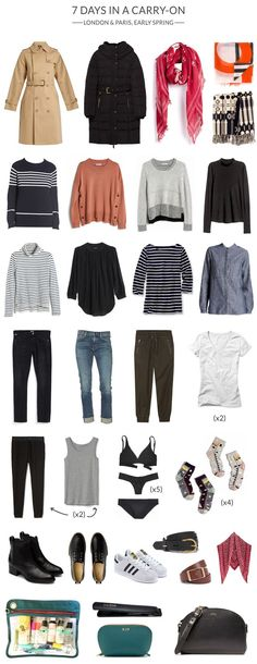 How To Pack Stylishly For 7 Days in a Carry-On (whoorl) London In March, Day Trips From London, Travel Wardrobe, Capsule Wardrobe, Packing For Europe, Packing Tips, Travel Capsule, Paris Outfits, Oui Oui