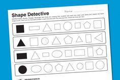 """Shape Detective"" Kindergarten Worksheet - this entire sight has fantastic printables Kindergarten Math Worksheets, Math Activities, Kindergarten Shapes, Preschool Printables, Printable Worksheets, Teaching Shapes, Teaching Math, Math For Kids, Fun Math"