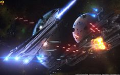 Dreadnought Battle - Denali vs Batarians by Euderion on DeviantArt Mass Effect Ships, Mass Effect Art, Starship Concept, Sci Fi Spaceships, Space Battles, Ship Of The Line, Star Trek Starships, Sci Fi Ships, Concept Ships
