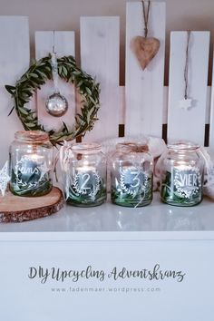DIY upcycling Advent wreath made easy by yourself. Last minute idea for an advent wreath. Make Advent wreath yourself. DIY Advent wreath of glasses. Christmas wreath with olive branches. Make Advent wreath. Advent wreath with lace. Advent Wreath, Diy Wreath, Christmas Wreaths, Christmas Crafts, Christmas Decorations, Xmas, Outdoor Christmas, Diy Crafts To Do, Crafts Cheap