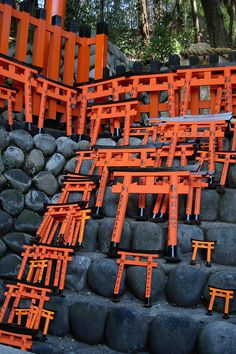 Torii offerings at the Fushimi Inari shrine in Kyoto. Visited in 2011 and bought one torii for myself.