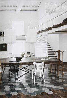 tomettes-parquet noir et blanc-moderne