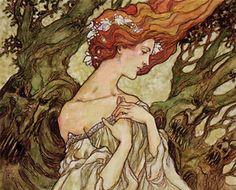 """Rebecca Guay """"dwell on the past"""", such an interesting contrast between the ethereal fairy and the creepy trees!"""