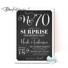 70th birthday party invitation digital printable template jade any ages surprise 70th birthday invitation women men surprise filmwisefo Gallery