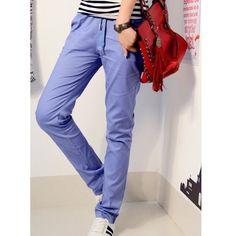 Sky Blue Long Pants Autumn New Style Korean Style Casual Women Cotton... ($13) via Polyvore