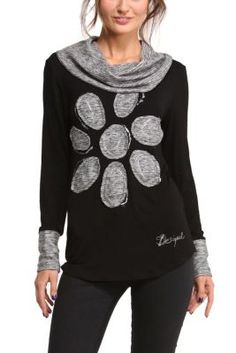 a long-sleeved T-shirt with a cowl neck and daisy. I would skip the cowl and add a ruffle on the bottom.