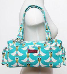 "Bungalow 360 ""Barbie"" Canvas Satchel Handbag Purse - Pelican love birds!"