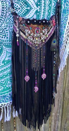 Handmade Black Leather Shoulder Bag Wearable Art* Fringe Boho Gypsy Purse B.Joy  | eBay