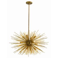 """Zanadoo Small Chandelier H: 27-45in Dia: 29in Modern sphere shaped starburst motif 12-light iron chandelier in antique brass finish. Includes cylindrical ceiling mount and (1) 6"""" and (2) 12"""" rods."""