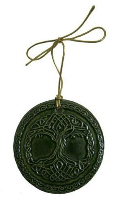 """Celtic Tree of Life Ceramic Christmas Ornament-Green  This handcrafted Irish Christmas tree ornament features a raised Celtic Tree of Life design on the front, with the story of the symbol on the back. This Celtic ornament measures approximately 2-7/8"""" in diameter and comes with a gold cord for hanging. Available in red also Price : $15.95 http://www.biddymurphy.com/Celtic-Tree-Ceramic-Christmas-Ornament-Green/dp/B00AFVERUI"""