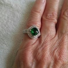 green emerald size 5 set in sterling silver