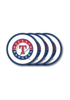 Texas Rangers 4 Pack White Vinyl Coaster