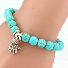 Boho Vintage Turquoises Charms Bracelet Men Lovely Tree Snake Owl Pendants Bracelets Bangles for Women Bracelet Jewelry