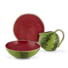 Tableware motivo melancia by Bordallo Pinheiro Watermelon Salad, Salad Bowls, Serving Bowls, Decorative Bowls, Ceramics, Tableware, Design, Portugal, Home Decor