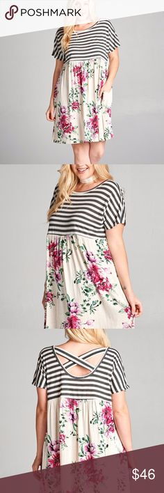 PLUS SIZED BABYDOLL DRESS Cute! Cute! Cute! Striped top with floral bottom. Loose fit. Side pockets. Criss cross back. True to size. Rayon/linen/spandex blend. Made in the USA!!! Dresses Midi