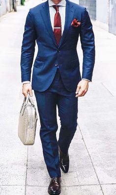 Wedding Suits style you way to office // mens fashion // mens suit // city life // urban men // leather bag // tie // Der Gentleman, Gentleman Style, Dress Suits, Men Dress, Terno Slim, Suit Combinations, Sharp Dressed Man, Mens Fashion Suits, Suit And Tie
