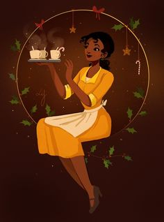 And here is Tiana! This is one of my favorite Disney princesses, especially because I love her motivation and determination for making her… Disney Marvel, Disney Nerd, Disney Fan Art, Disney Girls, Disney And Dreamworks, Disney Pixar, Walt Disney, Disney Characters, Disney And More