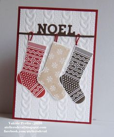 Cute! Cable sweater embossing folder with the punch stamp set stockings…