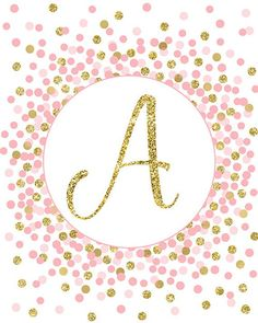 Initial Print Letter A Print Gold Pink Nursery Decor Pink And Gold Initial Sign Printable Baby Girl Monogram Wallpaper, Alphabet Wallpaper, Custom Wallpaper, Gold Nursery Decor, Marble Wallpaper Phone, Fancy Letters, Gold Letters, Mothers Day Quotes, Cute Wallpapers