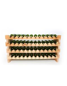 Stack multiple sets of this stackable wine rack for unlimited wine storage options. This wine rack requires no tools to set up and can hold 24 bottles per set. Wine Bottle Rack, Bottle Wall, Wood Wine Racks, Wine Rack Wall, Wine Cellar Innovations, Stackable Wine Racks, Hanging Wine Glass Rack, Solid Wood Flooring, Rack Design