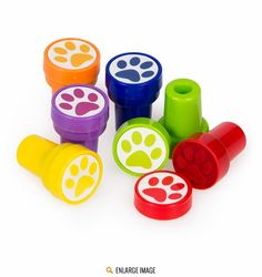 Multicolored Paw Stamper Favors are sold 6 per package