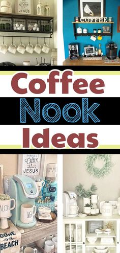 DIY Coffee Nook Ideas for your Kitchen or other small spaces - even make a cozy corner coffee nook or coffee bar - these coffee nook beverage stations are so popular right now - see all our favorite coffee nook ideas PICTURES! Coffee Corner Kitchen, Coffee Bar Home, Coffee Bar Design, Coffee Lover Gifts, Coffee Lovers, Tea Station, Coffee Geek, Bar Drinks, Drink Bar