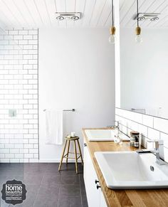 Bathroom in timber and white - Home Beautiful Magazine Australia