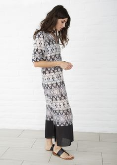 Tunic caftan maxi dress.  Bathing suit cover up in sheer cotton.