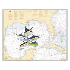 Steve Whitlock Nautical Chart Art - Gulf Slam