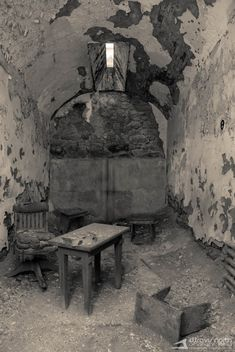 Hospitality: Business Suite, Eastern State Pennitentiary, Philadelphia, PA *, perhaps unloved in this case Abandoned Prisons, Old Abandoned Buildings, Old Buildings, Abandoned Places, Haunted Asylums, Haunted Places, Desert Places, Dark Places, Haunted Prison