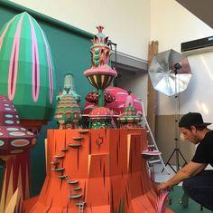 "HERMES, Dubai, United Arab Emirates, ""Work in Progress"", creative by Zim and Zou, pinned by Ton van der Veer Cardboard Sculpture, Cardboard Toys, Paper Chandelier, Window Display Design, Paper Mario, Paper Illustration, Paper Artwork, Prop Design, Paper Models"
