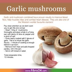 We created a bunch of recipes that could help folks with fibromyalgia. Mushrooms and garlic are great for your heart and blood flow, as well as relax muscles. Just resist adding butter to our recipe for better health results, enjoy! Health And Nutrition, Health And Wellness, Health Fitness, Health Tips, Garlic Mushrooms, Stuffed Mushrooms, Fibromyalgia Exercise, Fibromyalgia Disability, Diet Recipes