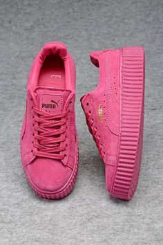 Womens Puma Creepers Fenty by Rihanna Suede Creeper All Pink Fashion Sneakers Shoes
