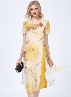 Silk Floral Short Sleeve Mid-Calf Vintage Dresses (1028656) @ floryday.com